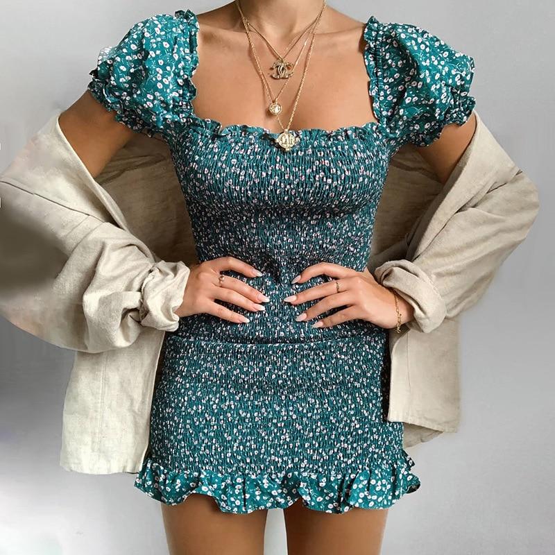 High Quality 2020 Women Square Neck Short Sleeve Floral Print Women Mini Dress