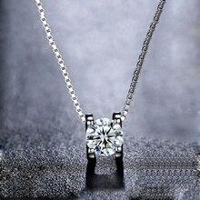 BOEYCJR 925 Zilveren 0.5ct/1ct/2ct F kleur Moissanite VVS Engagement Elegant Wedding Hanger Ketting voor Vrouwen Verjaardag gift