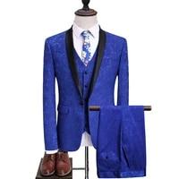 mens british suit mens royal blue slim jacquard embroidery blazer handsome single button suit three piece mens suit
