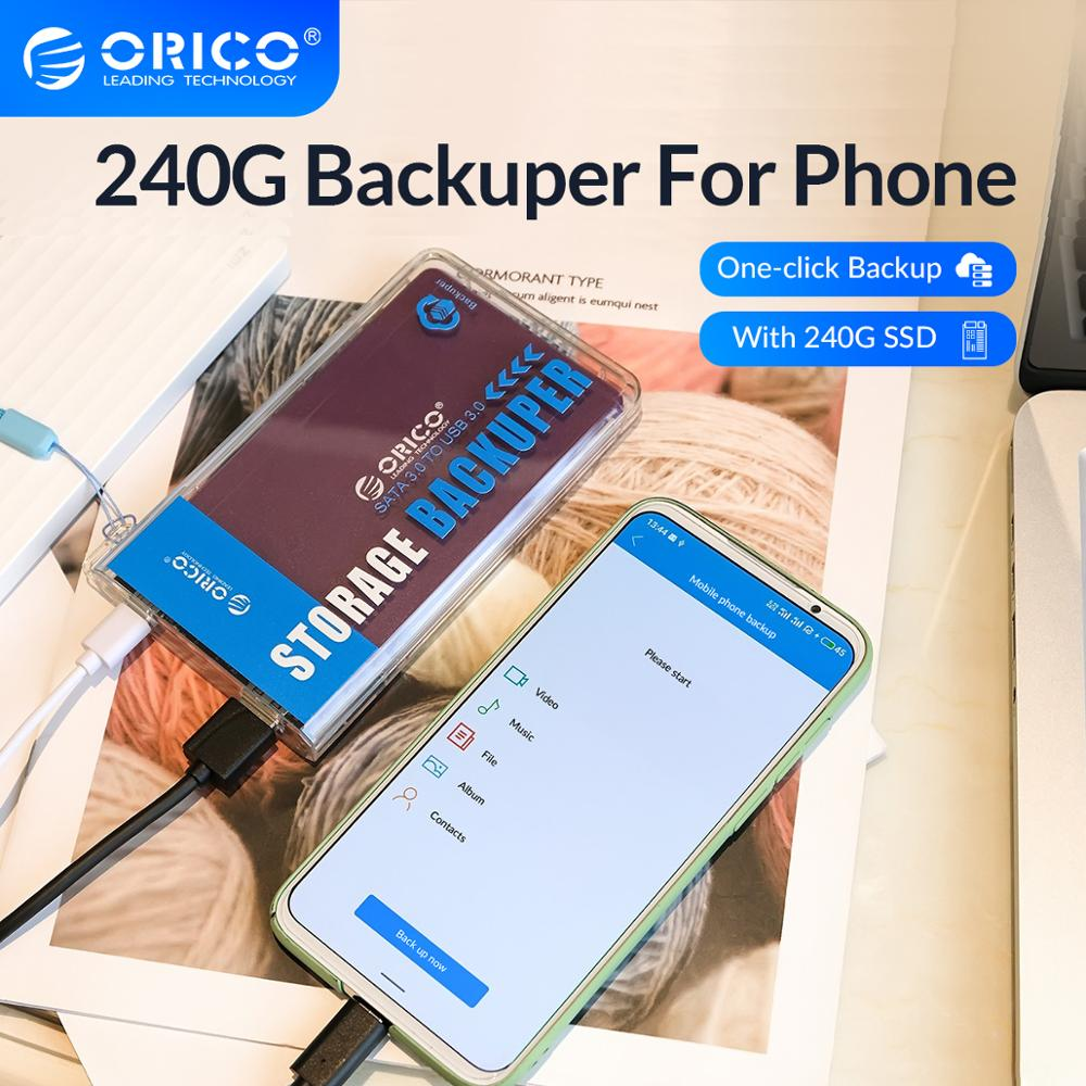 ORICO Backuper With 240G SSD Backup for Phone Photo Video Music Movie Ad Book One-touch Backup/Delete 5Gbps SATA TO USB C Port