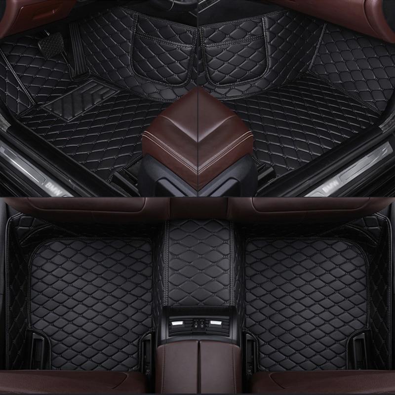 Leather Custom car floor mat for FORD F150 Falcon Fiesta Focus C-MAX fusion Mondeo Explorer Edge Ecosport carpet Phone pocket enlarge