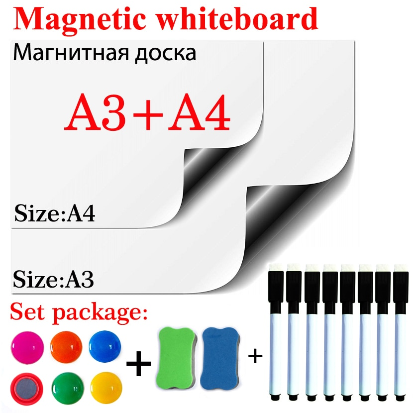 Размер A3 + A4, белая доска, наклейка на холодильник, магнитная, сухой стираемый, белая доска, школьная доска для сообщений, подарок, 8 черных руч...