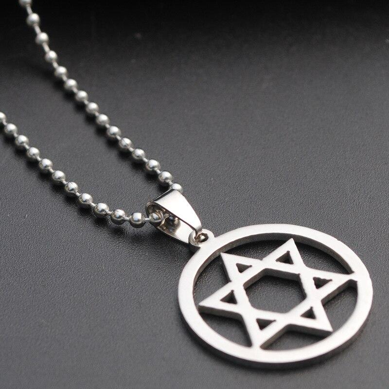 1 aço inoxidável israel emblema geométrica redonda sobreposição triângulo hexágono seis pontas estrela símbolo mágico colar jóias