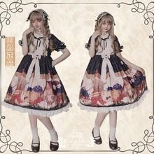 Fille été lolita mignon robe douce fille op vintage dentelle nœud papillon col claudine taille haute robe victorienne kawaii fille gothique