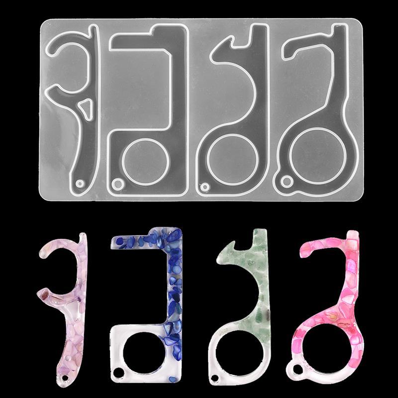 Abridor de puerta colgante molde de silicona Molde de resina de fundición para DIY resina epoxi UV fabricación de joyería llavero herramientas de joyería