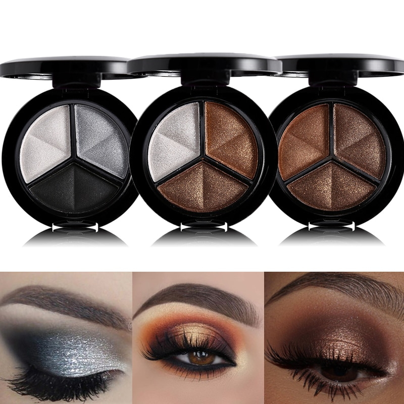 Paleta de sombra de ojos brillante en 3 colores, maquillaje, bronceador de cobre, plateado, gris, metálico, corte ahumado, sombra de ojos, Cosméticos Nude