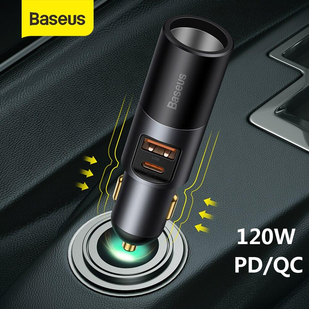 Baseus автомобильный прикуриватель разветвитель гнезда 120 Вт Тип C USB два порта быстрое зарядное устройство автомобильный аксессуар адаптер дл...