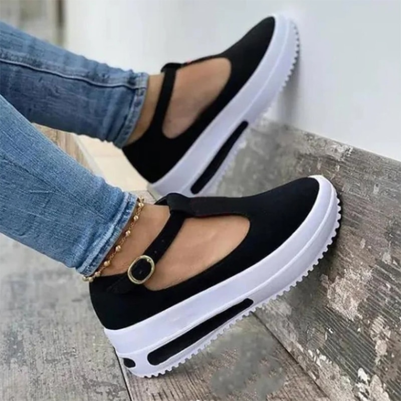 AliExpress - 2021 Women Shoes New Summer Sandals Thick Bottom Platform Flat Shoes Ladies Wedges Sandals Buckle Strap Casual Female Footwear