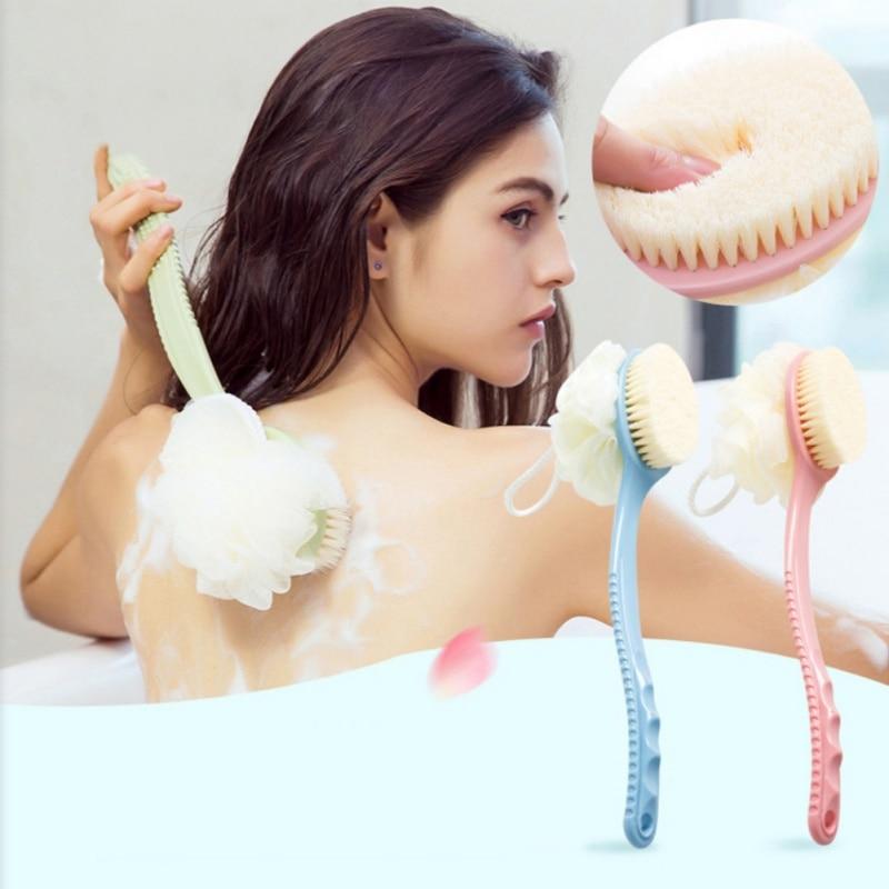 Cepillo de ducha de doble uso, cepillo de pelo suave con mango largo, cepillo de baño de ducha con bola, cepillo corporal de ducha con cerdas y esponja
