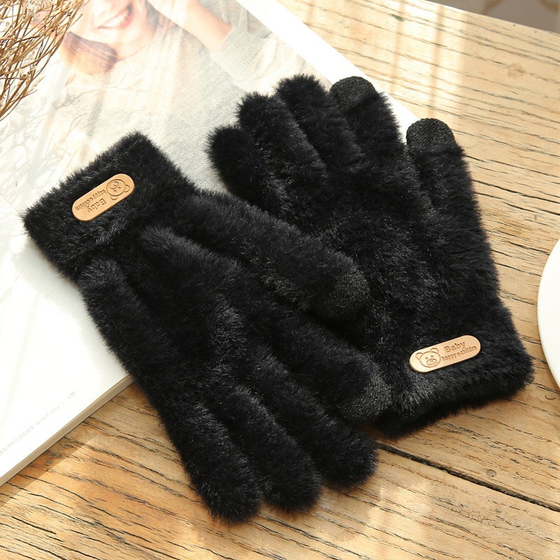 Knitted Gloves Winter Warm Thick Touch Screen Fur Gloves Solid Mittens for Mobile Phone Tablet Pad W