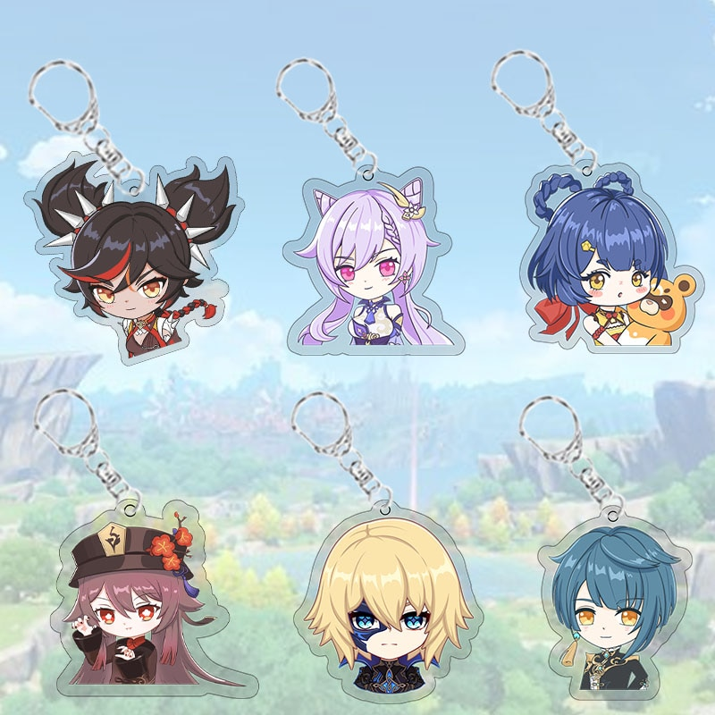 Anime Keychain Genshin Impact Venti Paimon Player Diluc Klee Man Cosplay Key Chain For Womens Cute Bag Pendant Key Ring Gift