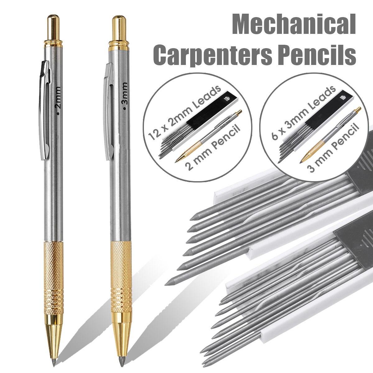 2mm/3mm leva lápis mecânicos para os construtores de carpinteiros embreagem 2b lápis com chumbo para desenho de marcação escola escritório