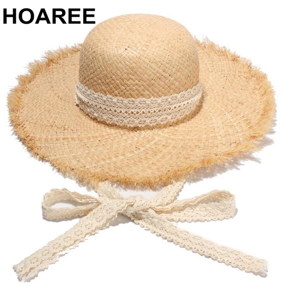 HOAREE Raffia Sun Hat For Women Brand Summer Hat Summer Beach Cap Straw Wide Brim  Lace Up Vintage Casual Korean Ladies Cap