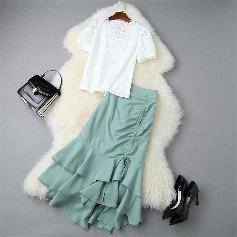 Moda designer runway terno 2 peça conjunto de roupas femininas verão 2020 nova moda senhora oco branco rendas topo e trompete saia conjunto
