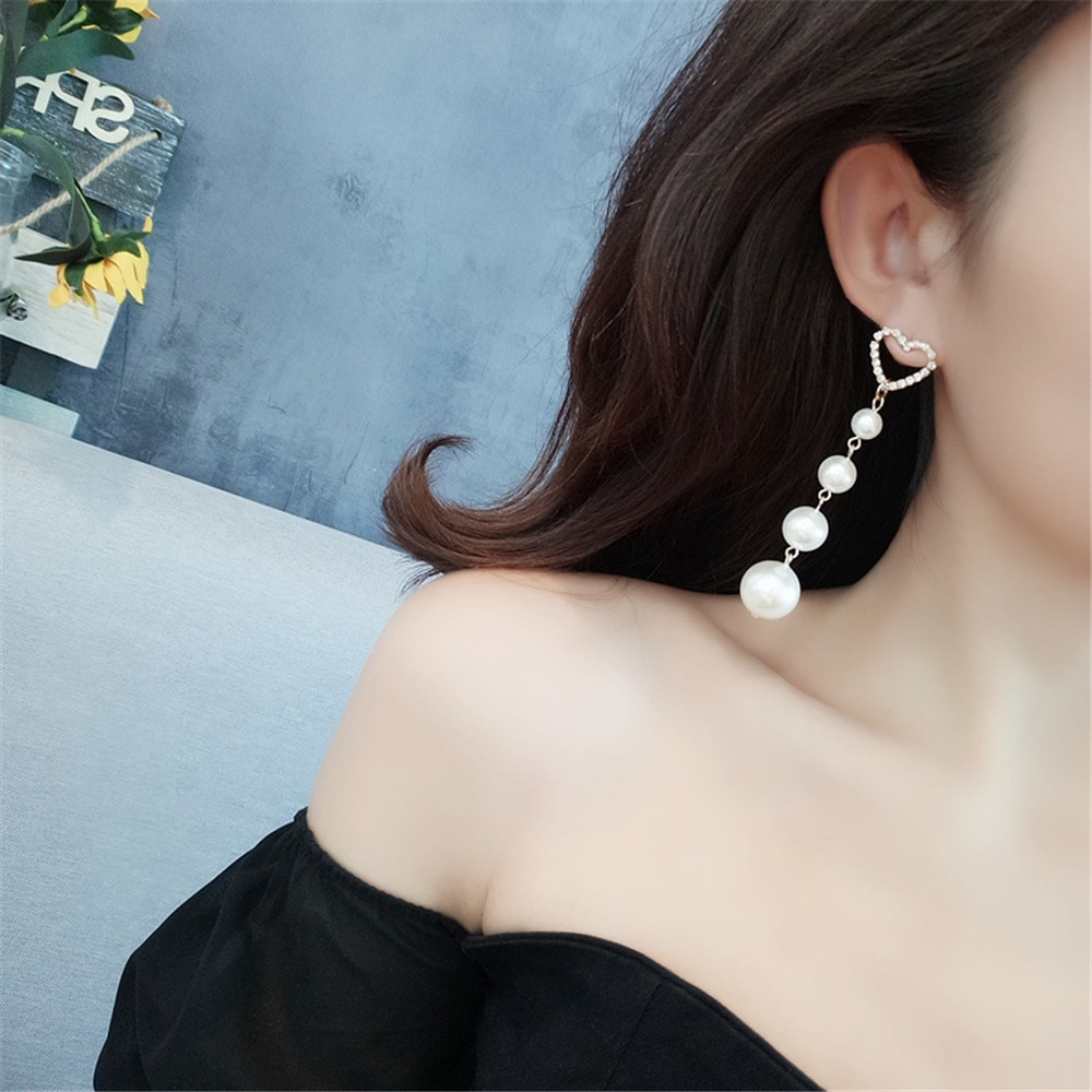 CRLEY, pendientes redondos de perla dorada plateada a la moda para mujer, pendientes geométricos de corazón con diamantes de imitación, regalo de joyería de boda