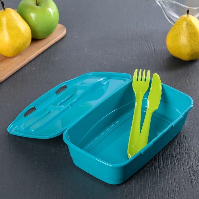 Контейнер для обеда 1 л, со столовыми приборами, цвет бирюзовый-1