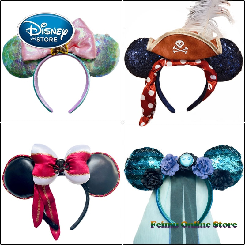 AliExpress - 2021 New Disney Minnie Mouse Headband For Women Shanghai Disneyland Mickey Ears Hair Band Sequin Cosplay Accessories Gift Toys