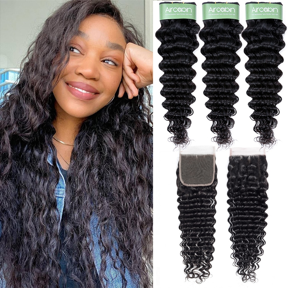 Aricabin Deep Wave Bundles With Closure Peruvian Remy Human Hair Lace Cosure With Bundles Deep Curly 3/4 Bundles With Closure