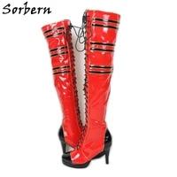 sorbern custom drag queen boots unisex high heel platform over the knee boot women crossdresser performance show boot slim fit