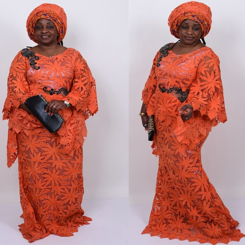 Kalume, estilo de hojas, cordón de guipur africano, tela de encaje naranja nigeriana, cordón hueco Soluble en agua, encajes apedreados para fiesta F1781