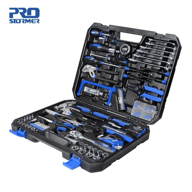 198Pcs Hand Tool Set DIY Home Repair Tool Kit Woodworking Tools Bag Car Repair Tool Set Wrench Saw Screwdriver By PROSTORMER