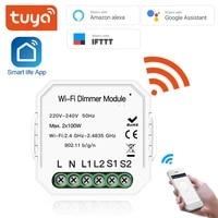 Tuya WiFi LED gradateur Module commutateur bricolage WiFi intelligent 1 2 voies lumiere vie intelligente Tuya APP telecommande travail avec Alexa Google Home