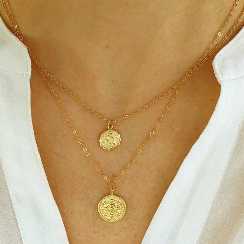 Collares de oro de monedas multicapa de moda de 17 millas para mujer medalla de retrato geométrico redondo gargantilla colgante collar de joyería vintage