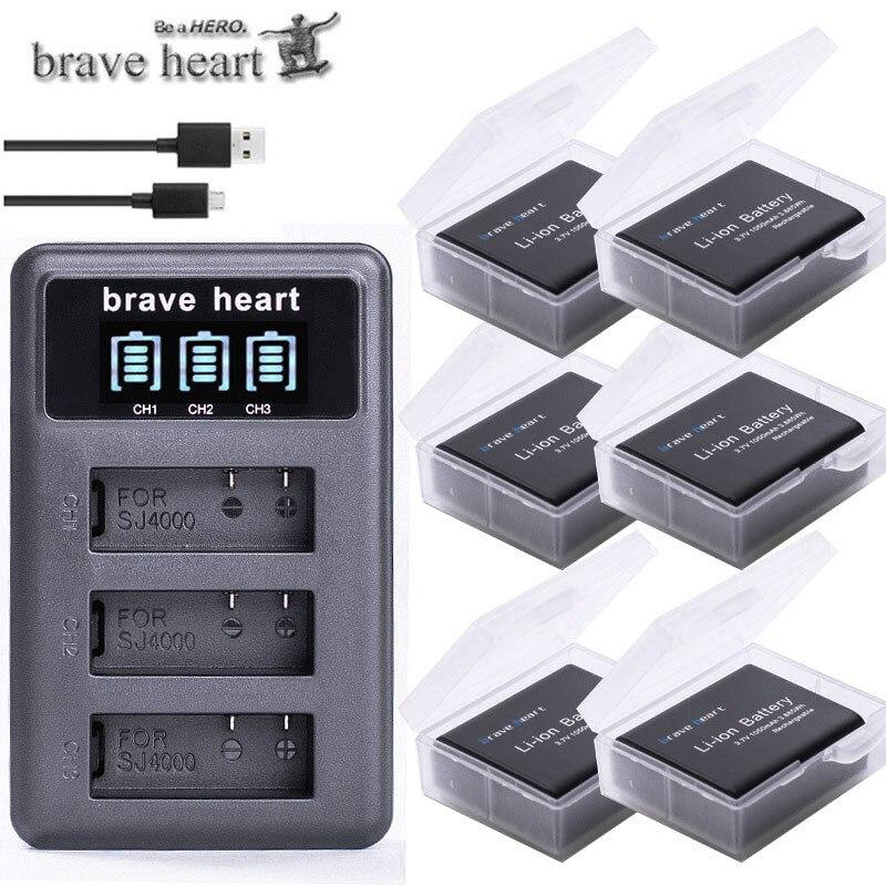 3,7 v 1050mAh bateria SJ4000 batería SJ5000 SJ6000 + Wifi + LCD 3 lotes de cargador usb para la cámara SJCAM sj 4000, 5000, 6000, 7000, 8000 sj9000 M10