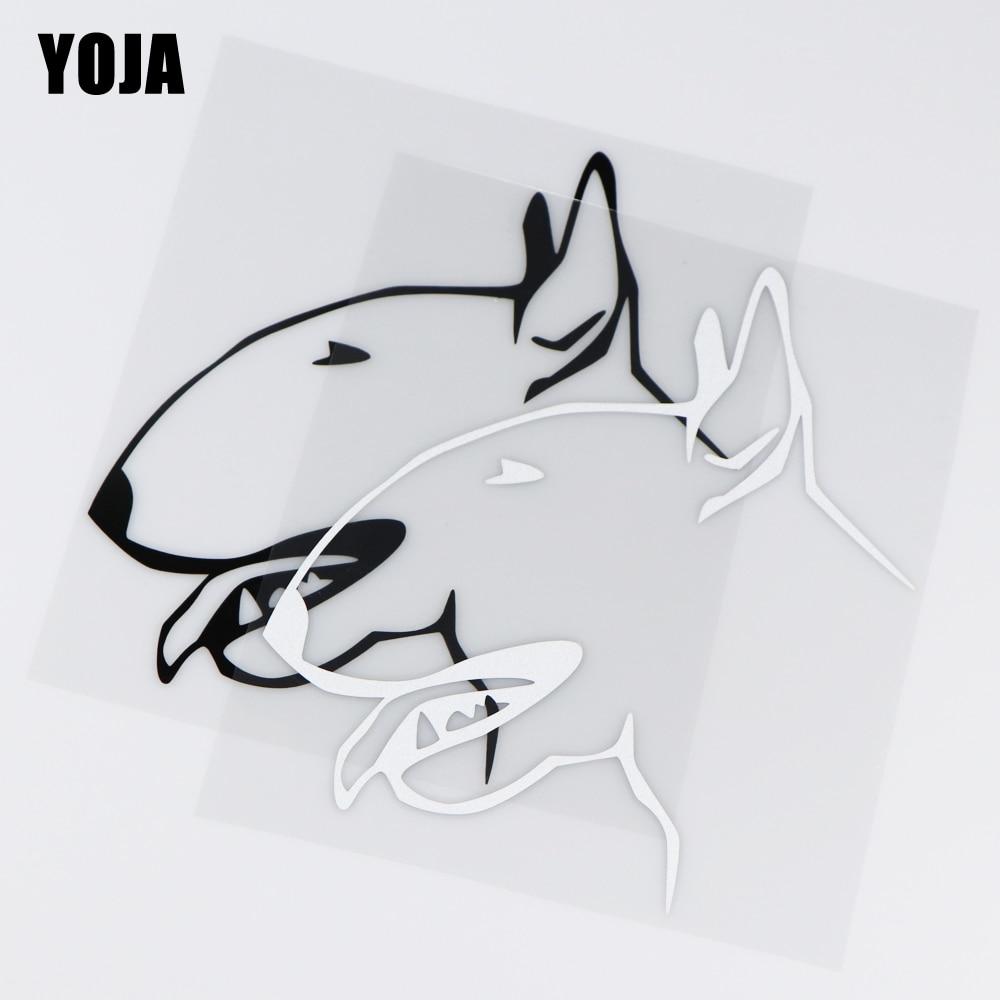 YOJA 15X17.6CM I Love My Bull Terrier Car Sticker Vinyl Decal Lovely Cartoon Animal  ZT2-0025