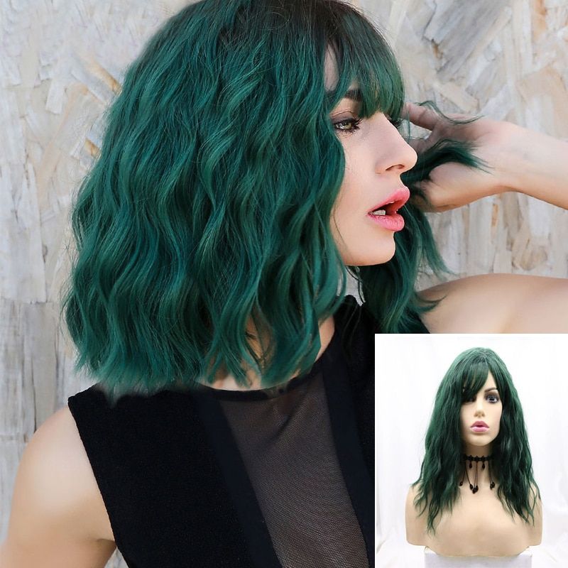 613 Blonde Silver Green Pink Wigs for Women Curly Bob Wave Wig With Bangs Short Synthetic Wig Fake Hair Halloween Cosplay Anime