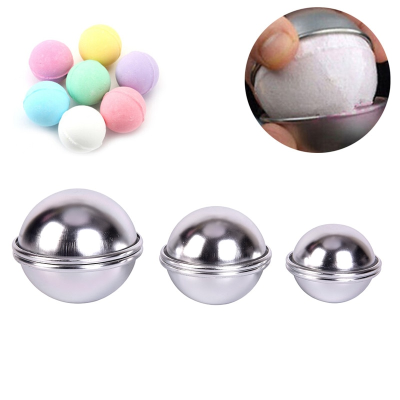 6pcs/set New Bath Bomb Molds Aluminum Alloy Ball Sphere Bath Bomb Mold Cake Baking Pastry Mould
