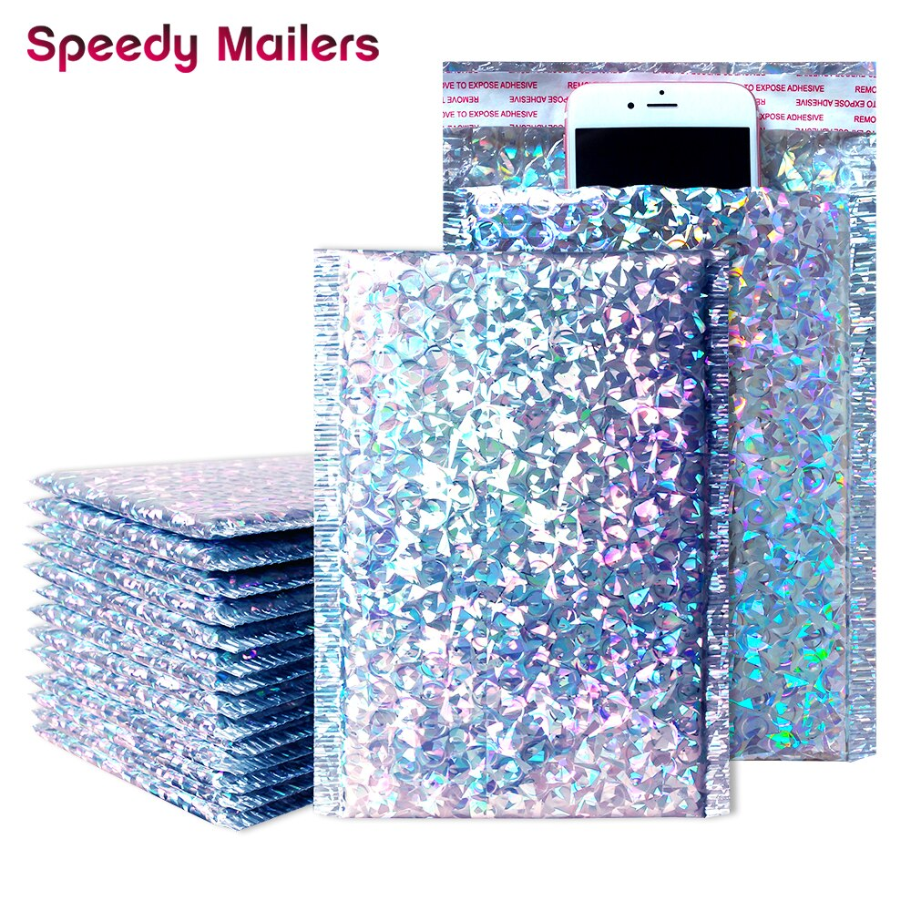 50PCS/Pack Aluminum Foil Bubble Mailer Gift Lashes Packaging Self Adhesive Courier Bag for Shipping Padded Bubble Envelopes