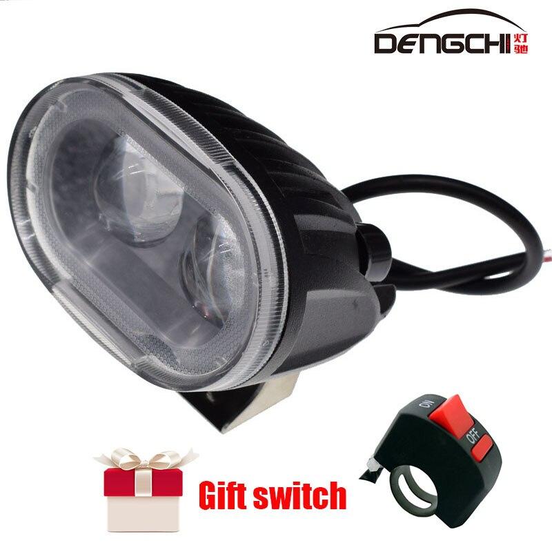 Luz LED de 20W DENGCHI, 12V-30V, 6500K, Blanca para moto, todoterreno, luz LED de viaje para Jeep, ATV, SUV, 4WD, batería de camion