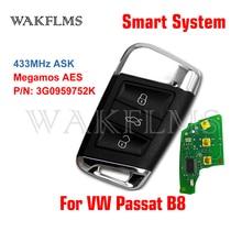 3G0 959 752 MQB llave remota inteligente sin llave 434Mhz ID88 para VW Volkswagen Passat B8 2018 2019 3G0 959 752 K