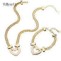brass necklacebracelet 2pcs set big heart pendant shiny zircon with 6 mm thickness chain hip hop rock jewelry sets for women
