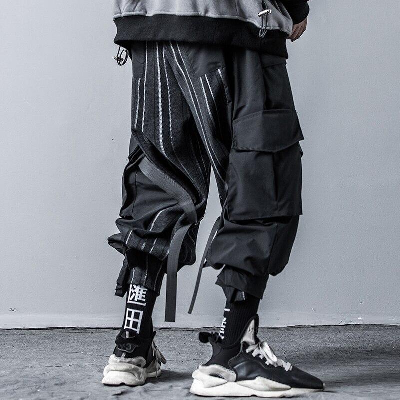 Pantalones de harén de dobladillo ajustable Multi-bolsillo para hombre Pantalones de Hip Hop góticos para hombres de calle alta Vintage Stripe Splice Casual Cargo pantalón