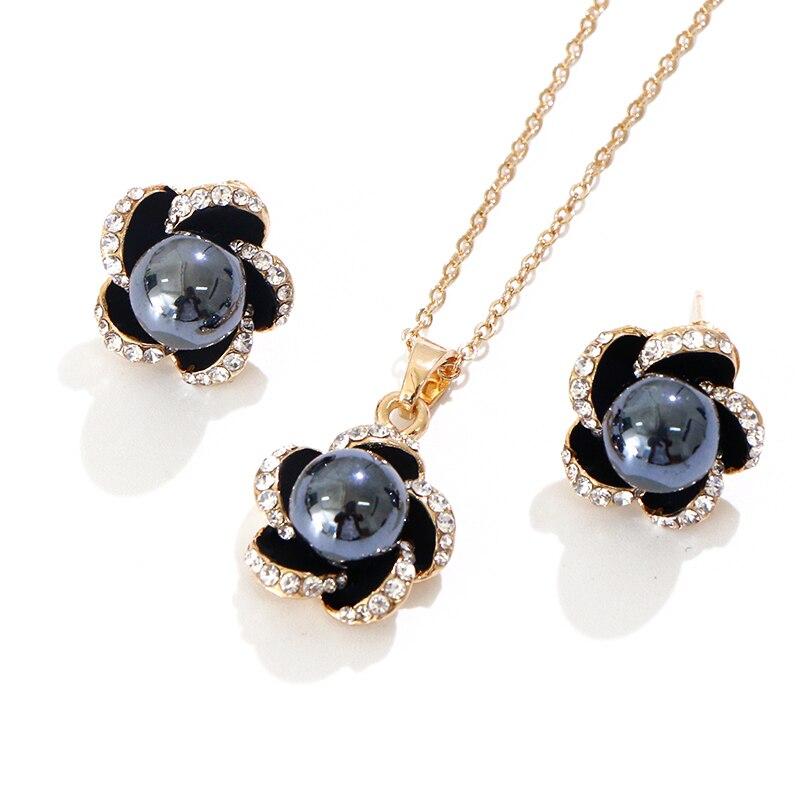 Diga olá polinésia havaiano marshall estilo imitação pérola plumeria petite bowknot coração colar pingente brincos conjunto de jóias