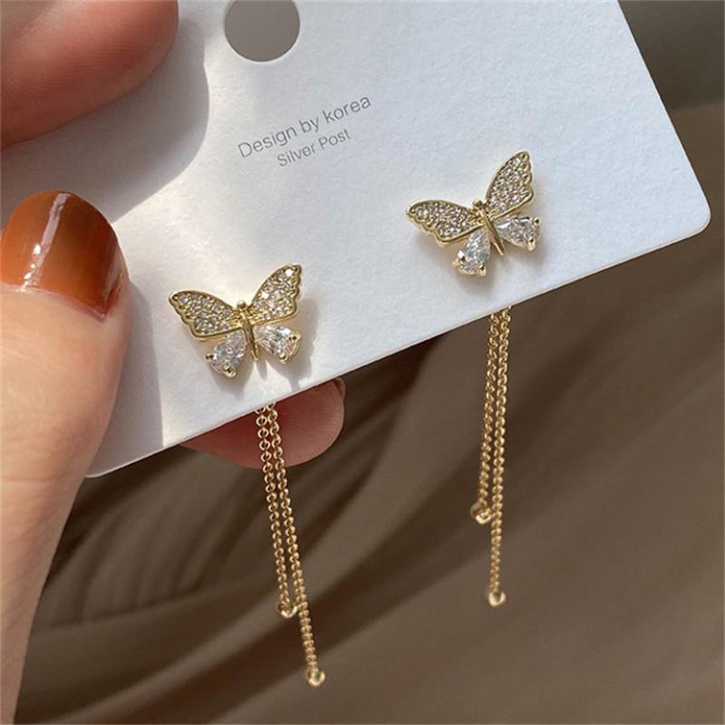 New Butterfly Tassel Drop Earrings For Women Vintage Jewelry Modern Party Wedding Bridal Accessories
