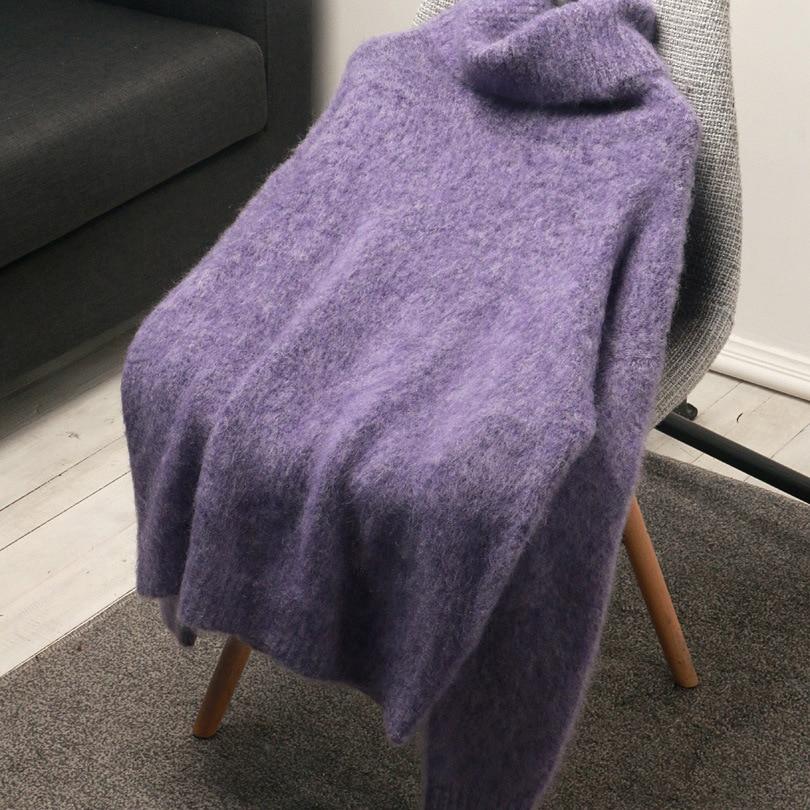 SHUCHAN 35% Mohair Women Winter Sweater Clothes Turtleneck  High Street Loose Solid  Autumn Winter Pullover Sweater Women enlarge