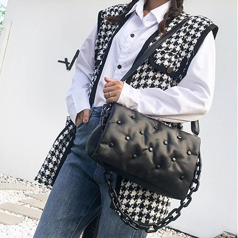 Luxury Women's Shoulder Bags Designer Thick Chain Crossbody Bag And Handbag Female Brand Clutch Bags Lady Rivet Button Bag Purse