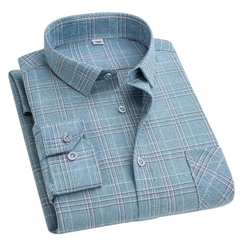 рубашка оверсайз белая рубашка рубашка в клетку черная рубашка Рубашка Aoliwen Мужская Фланелевая в клетку, Мягкая Повседневная сорочка из 100% ...