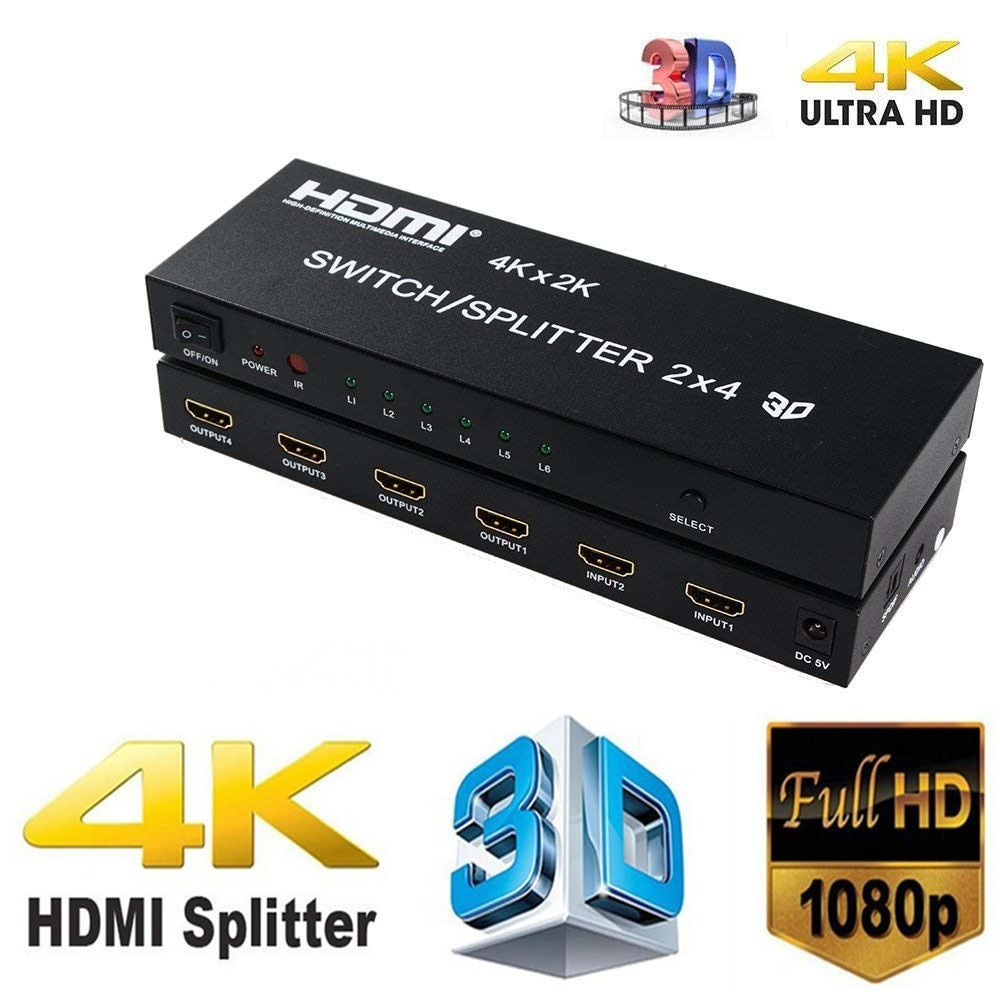 UHD 4K * 2K HDMI divisor 2x4 Extractor de Audio HDMI interruptor adaptador con Control remoto 4K 3D 1080p v1.4 para HDTV DVD