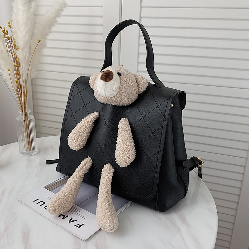 Cute Little Bear Backpacks for Women Cartoons Trending Back Packs Simple Teenager Girls Back Packs Luxury Pu Leather Rucksack