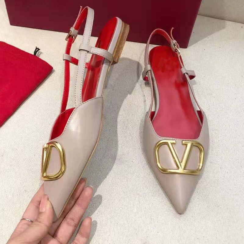 Spring 2021 Brand Women's Flat Sandals Black Red Mules Shoes Women Flats Luxury Wedding Party Pumps Women Dress Shoes Casual