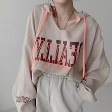 2021 Japanese Style Women's Clothing Solid Color Letter Printing Long Sleeve Hoodie Fashion Loose Ca
