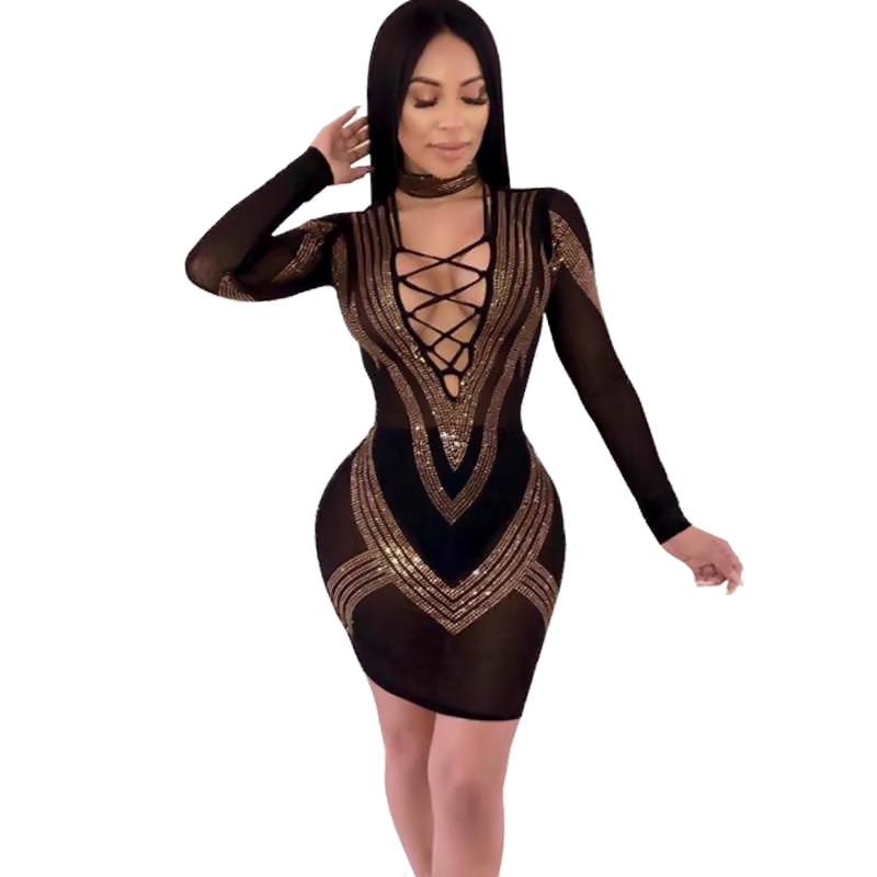 Strass Sexy maille robe transparente poitrine sangles femme fête danniversaire robe haute élastique à manches longues robe chanteur danseur
