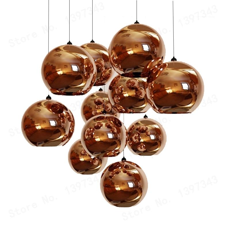 現代の led メッキボールペンダント手渡しランプライト光沢ガラスボール銅/スライバーシェードミラー E27 バーキッチン高品質