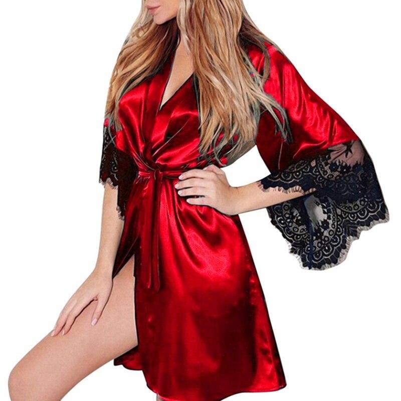 Фото - 2021 Сексуальная кружевная атласная пижама, женская ночная сорочка, женское нижнее белье, ночная сорочка с V-образным вырезом, свободная Ночна... сорочка женская iv30248