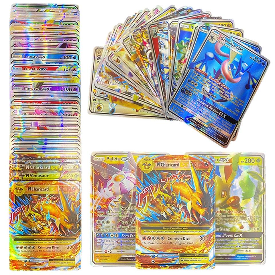 TAKARA TOMY 100pcs Pokemon Cards Box Shining Display Playing Game MEGA GX Pokémon Card Battle Tradi
