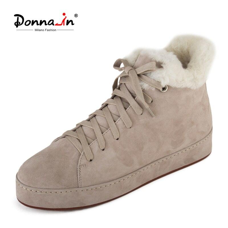 دونا في جلد طبيعي فاخر منصة الشتاء الثلوج الأحذية إسفين ميد كعب الدانتيل يصل مارتن الجوارب أعلى جودة أحذية نسائية